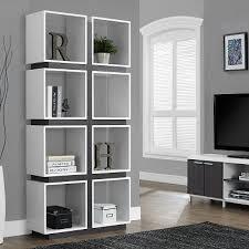 White modern bookshelf Room Dividers Modgsi Kayla Modern Bookshelf In White Open Concept Office Furniture