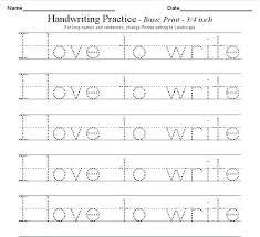 Writing Practice Worksheet Hand Writing Practice Sheets