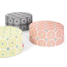 pfffh a large vintage ottoman for outside with a stunning print