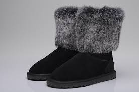 UGG 5825 Fox Fur Short Shoes For Women in Black ...