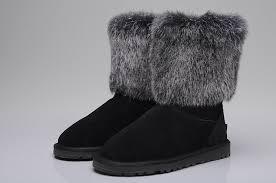 UGG 5825 Fox Fur Short Shoes For Women in Black ...