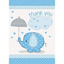 Baby Boy Thank You Cards Amazon Com Blue Elephant Boy Baby Shower Thank You Cards 8ct