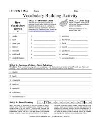 Vocab Building Worksheets Vocabulary Building Activity Worksheet For 4th 5th Grade