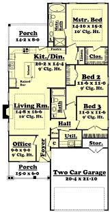 floor plan layout of narrow lot home design with three bedrooms from the plan collection