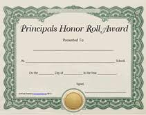 Principal Award Certificate Printable Principals Honor Roll Awards Certificates Templates