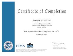 Fema Flood Insurance Quote Robert Weinstein Completes FEMA's National Flood Insurance Program 9
