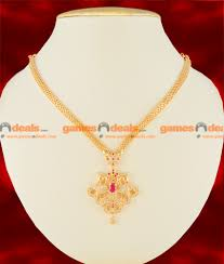 nckn107 gold plated imitation peacock necklace semi precious attractive ruby stone party wear unique peacock dollar design south indian jewelry 450 1