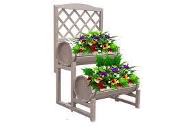 double barrel wooden garden planter