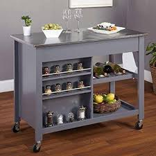 Small Picture Modern Mobile Kitchen Island Rolling Gray Wood Cart Stainless