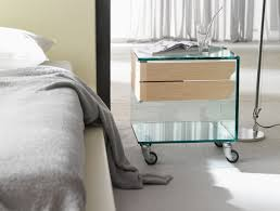 Small Table For Bedroom Mirrored Nightstand With Many Drawers Also Complete With Tube Lamp
