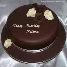 Rose Chocolate Birthday Cake For Fatima With Name Fatima Happy