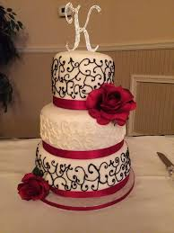 Wedding Cakes With Red Roses Drawing 3 Tier Black And White Hand