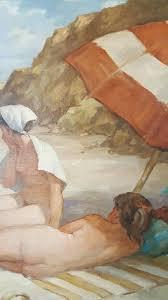 redmond stephens wright 1903 1991 beach scene oil on canvas etcher
