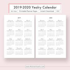 2020 Printable Calendar Yearly Yearly Calendar 2019 2020 For Unlimited Instant Download Digital Printable Planner Inserts In Pdf Format Filofax A5 Year At A Glance Yearly