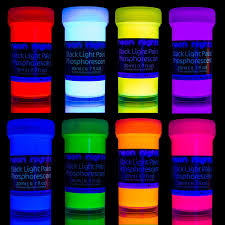 Professional Grade Black Light Premium Glow In The Dark Paint Set By Neon Nights Set Of 8 Professional Grade Neon Paints Long Lasting Self Luminous Paint Handcrafted In Germany