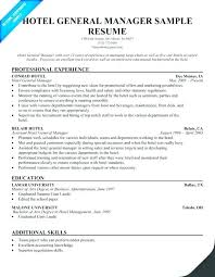 Sample Resume For Hotel Jobs Hotel Manager Template Job Description