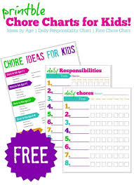 Free Printable Chore Charts For Kids Ideas By Age