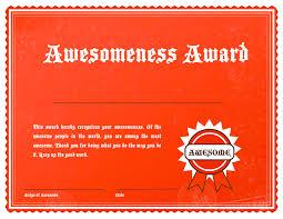 Certificate Of Awesomeness Template Awesomeness Award Traci Smith