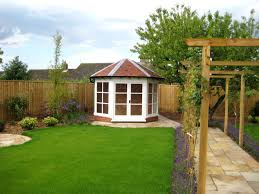 Small Picture Garden Design with Summer House Pergola and Paving by Roger