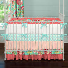 c and teal fl crib bedding