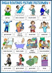 Daily Routine Printable Daily Routines Esl Printable Vocabulary Worksheets