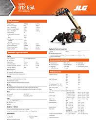 Jlg G12 55a Load Chart G12 55a Spec Sheet Manualzz Com