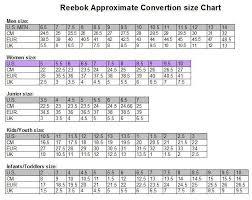 Reebok Shoe Size Chart For Kids 50 Reebok Size Chart Shoes Cm Achat Www Aimspireworld Com