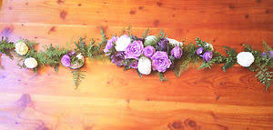 White Paper Flower Garland Floral Garland In Lavender Plum And White Paper Flowers Table Runner
