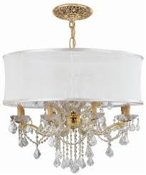 crystal chandelier dd w antique white silk shade