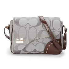 Coach Stud In Signature Medium Grey Crossbody BagsAYV