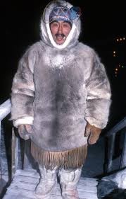 for survival here in winter caribou skin with hollow hair is still the best protection most clothes are still home made