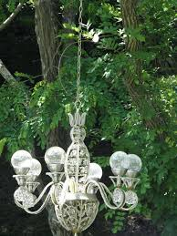 chandelier battery powered solar in my garden i like the round rather than led mini