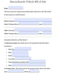Free Massdot Rmv Registry Of Motor Vehicles Auto Bill Sale Form