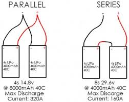 lipo batteries lithium polymer diagram showing 4s lipo in parallel verse 4s lipo in series