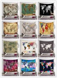 world map printed tapestry wall hanging home decor 12 designs beach towel yoga mat shawl picnic blanket tablecloth bedspread for bedroom art wall hanging