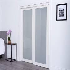 white sliding frosted glass door