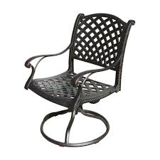 furniture antique style black outdoor swivel rocker chair design featuring medium cushion seat sling