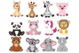 Download 27,547 animal svg free vectors. Cartoon Baby Animal Bundle Graphic By Tigatelusiji Creative Fabrica