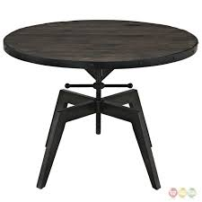 grasp industrial round pine wood coffee table with metal htm and black glass top oak modern