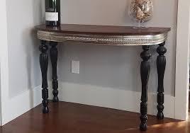half round walnut wall table tattered oak studio with regard to decor 6