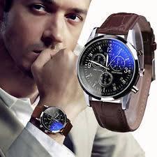 mens stylish watches mens watch stylish blue ray glass quartz analog watch faux leather