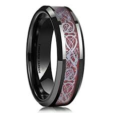 6mm uni or women s wedding band celtic wedding bands black with red resin inlay celtic knot tungsten carbide ring