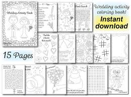 Wedding Kids Coloring Activity Book Wedding Coloring Book