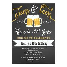 Mens Birthday Invitations Cheer And Beers Birthday Party Invitation For Men Zazzle Com
