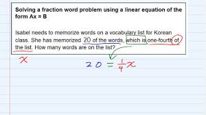 aleks solving a fraction word problem using a linear equation of the form ax b