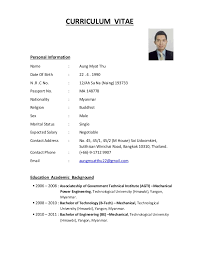 CURRICULUM VITAE Personal Information Name : Aung Myat Thu Date Of Birth :  22 .