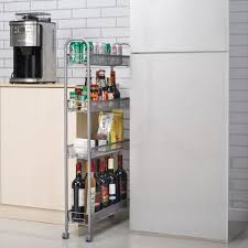 Rolling 4 Layer Shelf Slim Can Spice Rack Holder Cart Kitchen