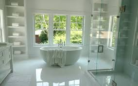 bathtub between shelves