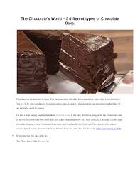 Order Five Different Types Of Chocolate Cake