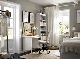 ikea office idea. A Corner In The Bedroom With White Desk And High Bookcase Completed Ikea Office Idea S